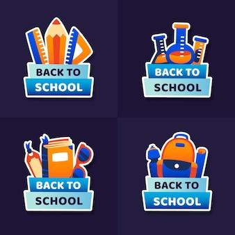 Colección de insignias de regreso a la escuela de diseño plano