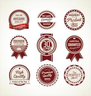 Colección de insignias retro de calidad premium