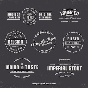 Colección de insignias retro de cerveza
