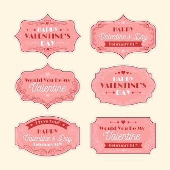 Colección de insignias de san valentín vintage