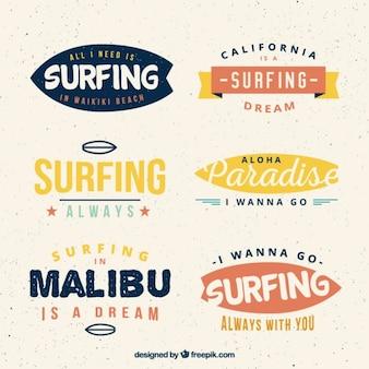Colección de insignias de surf de colores