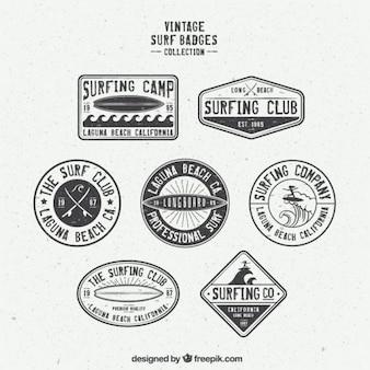 Colección de insignias de surf retro