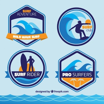Colección de insignias de surf