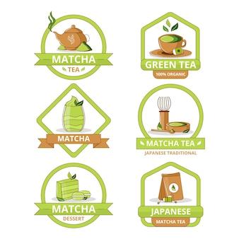 Colección de insignias de té matcha