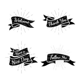 Colección de insignias de texto de banner
