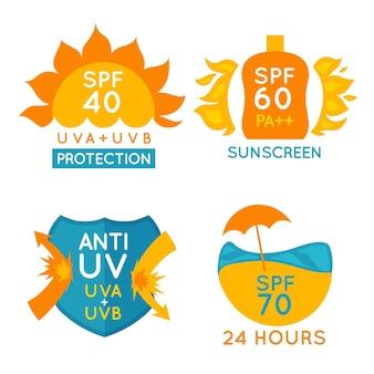 Colección de insignias uv de diseño plano
