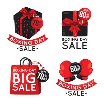 Colección de insignias de venta de día de boxeo dibujado a mano
