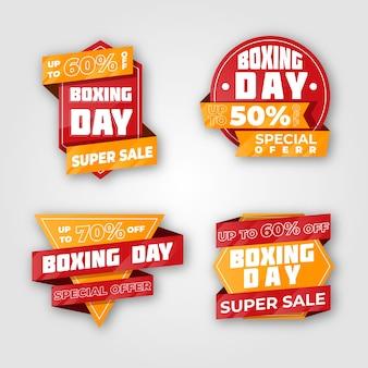 Colección de insignias de venta de día de boxeo de diseño plano