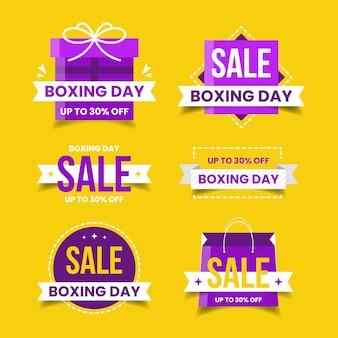 Colección de insignias de venta de diseño plano día de boxeo