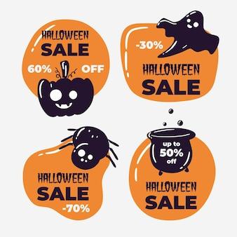 Colección de insignias de venta de halloween dibujadas a mano