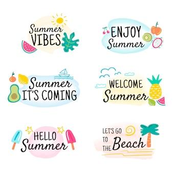 Colección de insignias de verano coloridas dibujadas a mano