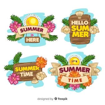 Colección de insignias de verano dibujadas a mano
