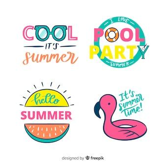 Colección de insignias de verano dibujados a mano