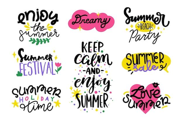 Colección de insignias de verano de diseño plano