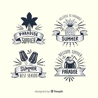 Colección de insignias de verano vintage