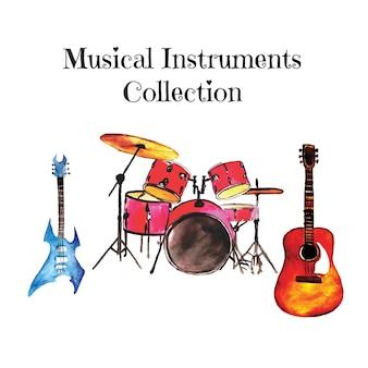 Colección de instrumentos dibujados a mano