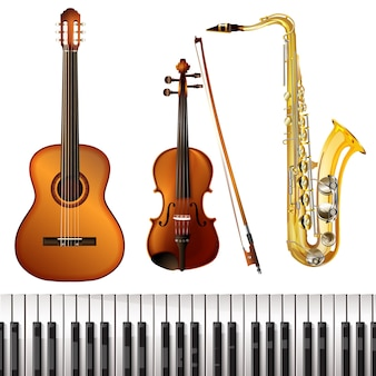 Colección de instrumentos musicales realistas