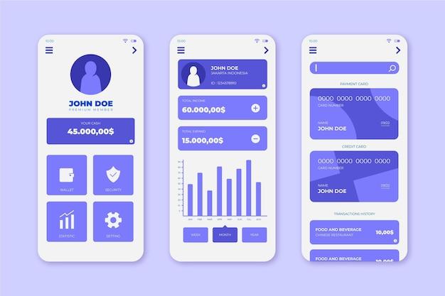 Colección de interfaz de la aplicación bancaria