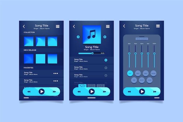 Colección de interfaz de la aplicación del reproductor de música