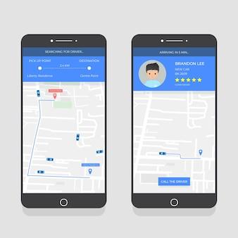 Colección de la interfaz de la aplicación de taxi en el teléfono inteligente