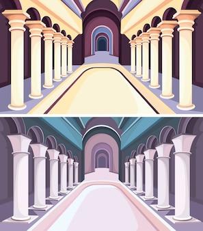 Colección de interiores de castillos. salones del palacio con columnas.