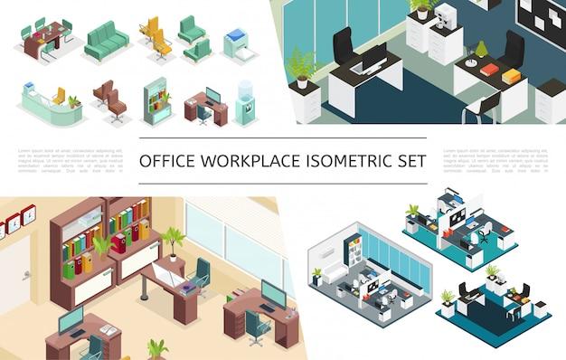 Colección de interiores de oficina isométrica con variaciones de lugares de trabajo muebles estantería impresora computadora computadora cafetera enfriador de agua plantas lámparas relojes