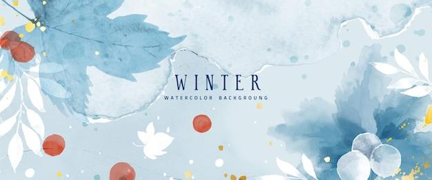 Colección de invierno de fondo abstracto acuarela con flores y hojas de temporada. arte natural de acuarela pintado a mano, adecuado para su encabezado, banner, portada, web, pared, tarjetas, etc.