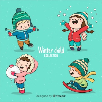 Colección invierno niños jugando