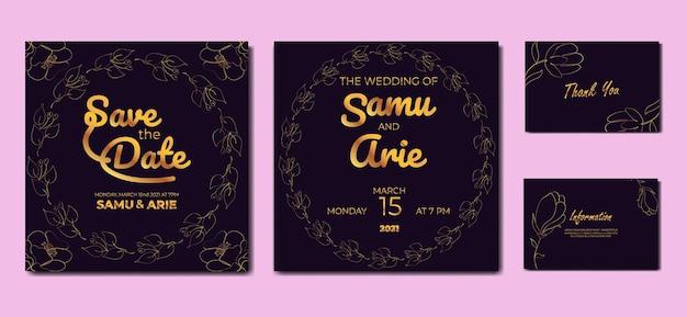 Colección de invitación de boda monoline flor estilo boho de mediados de siglo