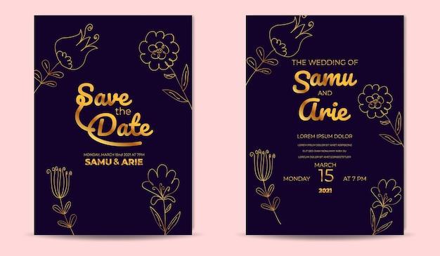Colección de invitación de boda monoline flor lujo