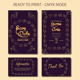 Colección de invitaciones de boda de lujo flor line art gold