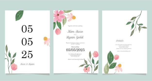 Colección de invitaciones de boda minimalista
