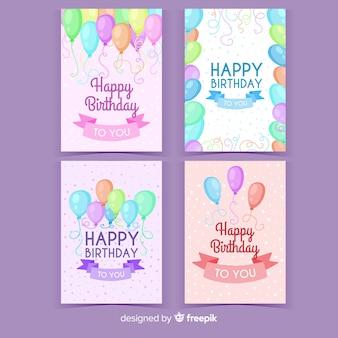 Colección de invitaciones de cumpleaños dibujadas a mano