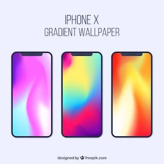 Colección de iphone x con fondo degradado