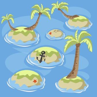 Colección de islas isométricas mar verde con palmeras.
