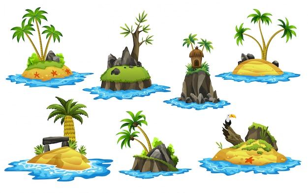 Colección de islas tropicales. costa tropical con palmeras, buitre, estrellas de mar y olas del mar. paisaje de verano de la isla tropical con costa rocosa. bungalow en la isla. descansar en el resort