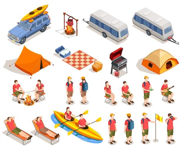 Colección isométrica de camping y senderismo