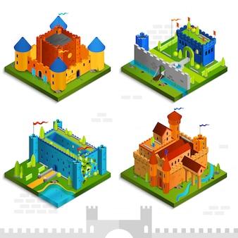 Colección isométrica de castillos medievales.
