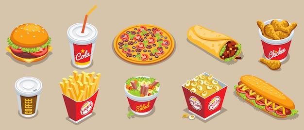 Colección isométrica de comida rápida con diferentes productos y bebidas.