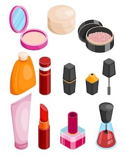 Colección isométrica de cosméticos