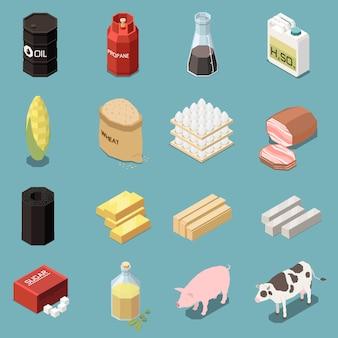 Colección isométrica de iconos de productos básicos de dieciséis imágenes con productos industriales y manufacturados con animales y alimentos