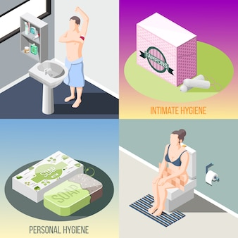 Colección isométrica de pancartas de higiene personal