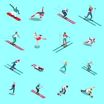 Colección isométrica de personas de deportes de nieve