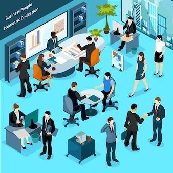 Colección isométrica de personas de negocios