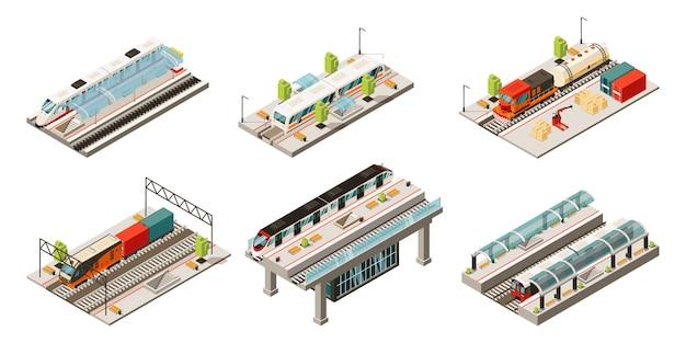 Colección isométrica de transporte ferroviario moderno con locomotoras de carga y trenes de pasajeros aislados
