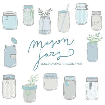 Colección de jarras dibujadas a mano