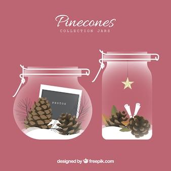 Colección de jarras con piñones