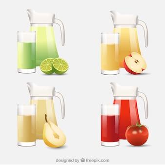 Colección de jarras y vasos realistas con zumos de fruta