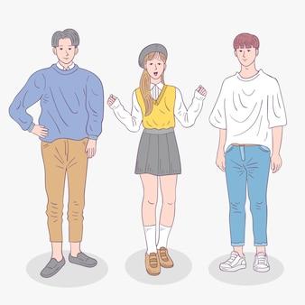 Colección de jóvenes coreanos de moda.
