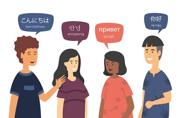 Colección de jóvenes de diseño plano hablando en diferentes idiomas